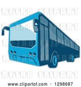 Vector Clip Art of Retro Blue Shuttle Bus Coach by Patrimonio