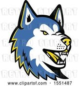 Vector Clip Art of Retro Blue Siberian Husky Dog Mascot Head by Patrimonio