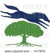 Vector Clip Art of Retro Blue Silhouetted Horse Leaping over a Green Oak Tree by Patrimonio