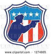 Vector Clip Art of Retro Blue Silhouetted Male Police Officer Aiming a Firearm in an American Flag Circle by Patrimonio