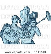 Vector Clip Art of Retro Blue Sketch of Film Crew Clapper Board, Sound Guy and Camera Guy Workers by Patrimonio