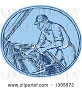 Vector Clip Art of Retro Blue Sketched or Engraved Mechanic Working on a Car's Engine in an Oval by Patrimonio
