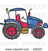 Vector Clip Art of Retro Blue Sketched Tractor by Prawny