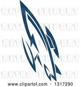 Vector Clip Art of Retro Blue Space Rocket 11 by Vector Tradition SM