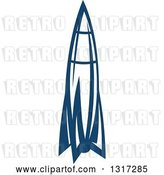 Vector Clip Art of Retro Blue Space Rocket 12 by Vector Tradition SM