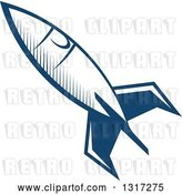 Vector Clip Art of Retro Blue Space Rocket 13 by Vector Tradition SM