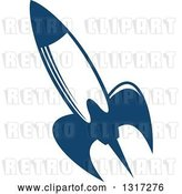Vector Clip Art of Retro Blue Space Rocket 14 by Vector Tradition SM