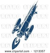 Vector Clip Art of Retro Blue Space Rocket 8 by Vector Tradition SM