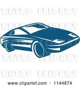 Vector Clip Art of Retro Blue Sports Car by Patrimonio
