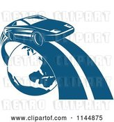 Vector Clip Art of Retro Blue Sports Car on a Road Around Earth by Patrimonio