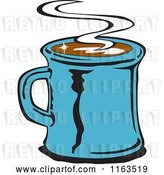 Vector Clip Art of Retro Blue Steamy Mug of Coffee by Andy Nortnik