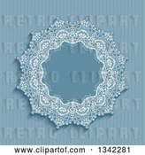 Vector Clip Art of Retro Blue Stripe and Doily Frame Background by KJ Pargeter