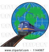 Vector Clip Art of Retro Blue Train Emerging from a Globe by Patrimonio