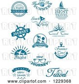 Vector Clip Art of Retro Blue Travel Designs by Vector Tradition SM