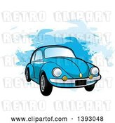 Vector Clip Art of Retro Blue VW Slug Bug Car over Blue Paint Strokes by Lal Perera