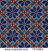 Vector Clip Art of Retro Blue White and Red Seamless Norwegian Embroidered Winter Pattern of Snowflakes in Diamonds by Vector Tradition SM