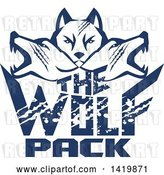 Vector Clip Art of Retro Blue Wolf Heads Facing Front and to the Sides over Text by Patrimonio