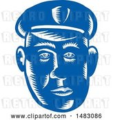 Vector Clip Art of Retro Blue Woodcut Police Guy's Face by Patrimonio