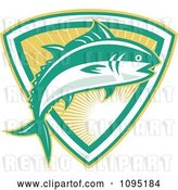 Vector Clip Art of Retro Bluefin Tuna Fish Jumping over a Sunshine Shield by Patrimonio