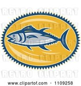 Vector Clip Art of Retro Bluefin Tuna Fish over a Yellow Oval by Patrimonio