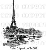 Vector Clip Art of Retro Boat Bridge and Eiffel Tower by Prawny Vintage
