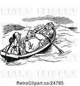Vector Clip Art of Retro Boat with Four Men by Prawny Vintage