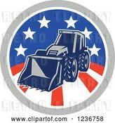 Vector Clip Art of Retro Bobcat Digger Machine in an American Circle by Patrimonio