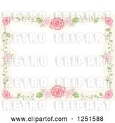 Vector Clip Art of Retro Boder of Vines and Pink Flowers by BNP Design Studio