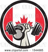 Vector Clip Art of Retro Bodybuilder Arm Holding up a Bent Barbell and Kettlebell in a Canadian Flag Circle by Patrimonio