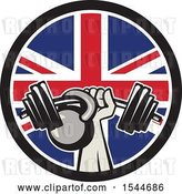 Vector Clip Art of Retro Bodybuilder Arm Holding up a Bent Barbell and Kettlebell in a Union Jack Flag Circle by Patrimonio