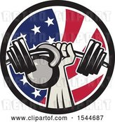 Vector Clip Art of Retro Bodybuilder Arm Holding up a Bent Barbell and Kettlebell in an American Flag Circle by Patrimonio
