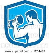 Vector Clip Art of Retro Bodybuilder Doing Bicep Curls with a Dumbbell in a Blue Shield by Patrimonio