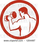 Vector Clip Art of Retro Bodybuilder Doing Bicep Curls with a Dumbbell in a Gray and Red Circle by Patrimonio