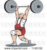 Vector Clip Art of Retro Bodybuilder Doing Lunges with a Barbell by Patrimonio