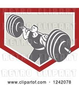 Vector Clip Art of Retro Bodybuilder Doing Squats with Dumbbells in a Shield by Patrimonio