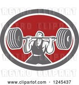 Vector Clip Art of Retro Bodybuilder Doing Squats with Dumbbells in an Oval by Patrimonio