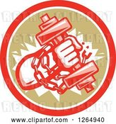 Vector Clip Art of Retro Bodybuilder Hand Holding a Dumbbell and Chains in a Red White and Brown Circle by Patrimonio