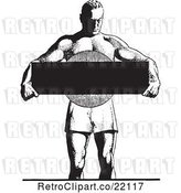 Vector Clip Art of Retro Bodybuilder Holding a Blank Sign by BestVector