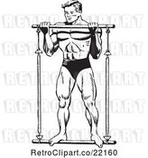 Vector Clip Art of Retro Bodybuilder Lifting a Bar by BestVector