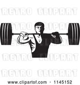 Vector Clip Art of Retro Bodybuilder Lifting a Barbell by Patrimonio