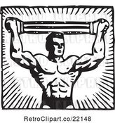 Vector Clip Art of Retro Bodybuilder Pulling a Band Above His Head by BestVector