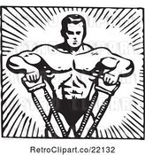 Vector Clip Art of Retro Bodybuilder Pulling with His Arms by BestVector