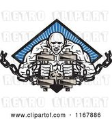 Vector Clip Art of Retro Bodybuilder with Chains and Dumbbells over a Blue Ray Diamond by Patrimonio