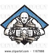 Vector Clip Art of Retro Bodybuilder with Chains, Holding Dumbbells over a Blue Ray Diamond by Patrimonio