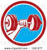 Vector Clip Art of Retro Bodybuilder's Hand Holding a Dumbbell in a Red White and Blue Circle by Patrimonio