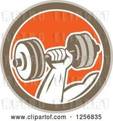 Vector Clip Art of Retro Bodybuilder's Hand Lifting a Dumbbell in a Brown White and Orange Circle by Patrimonio