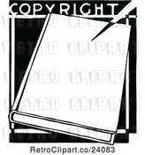 Vector Clip Art of Retro Book and Copyright Text by Prawny Vintage