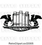 Vector Clip Art of Retro Book Shelf with Winged Horse Ends by Prawny Vintage