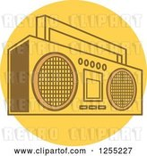 Vector Clip Art of Retro Boom Box Radio on a Yellow Circle by Andy Nortnik