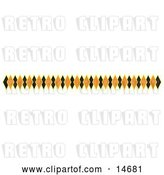 Vector Clip Art of Retro Border of Black and Orange Diamonds Clipart Illustration by Andy Nortnik